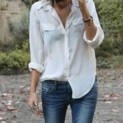 blusa blanca y jeans